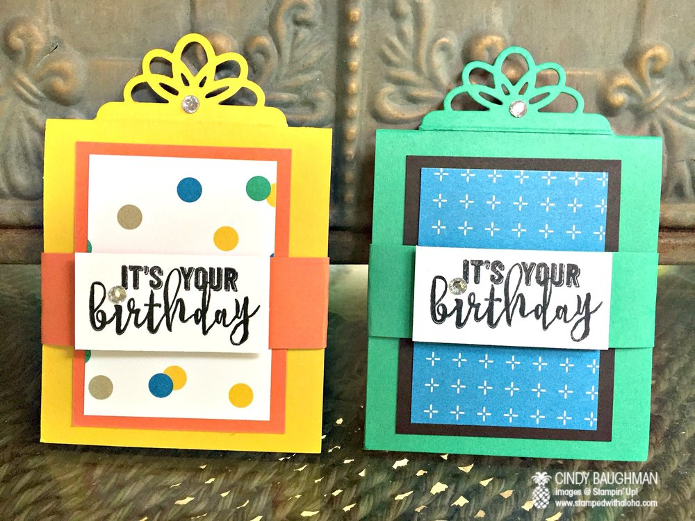 Birthday Box Gift Card Holders - www.stampedwithaloha.com