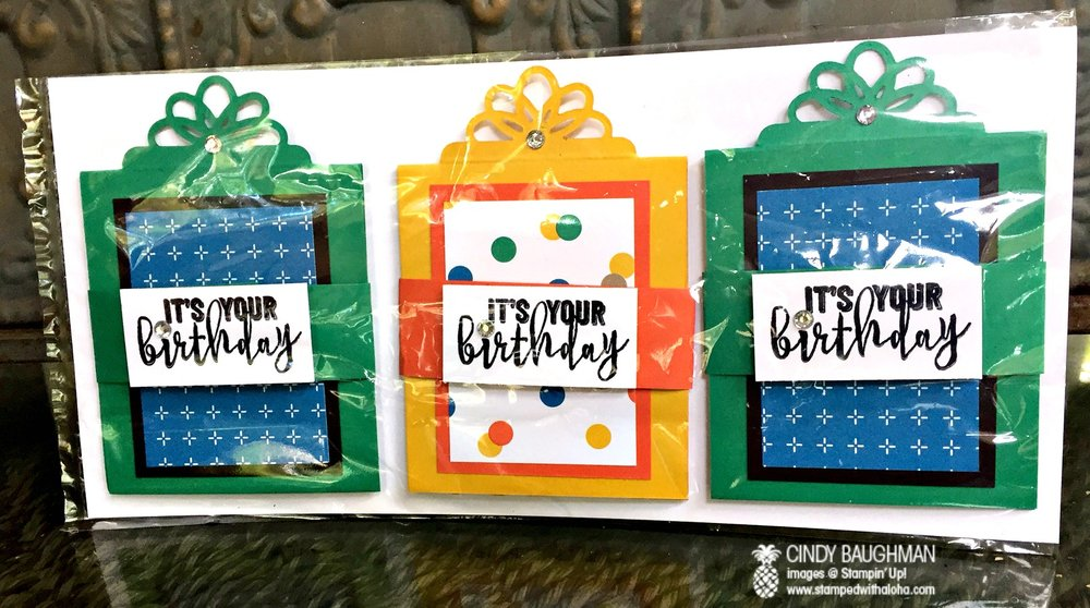 Birthday Gift Card Holders/Aloha Prize - www.stampedwithaloha.com