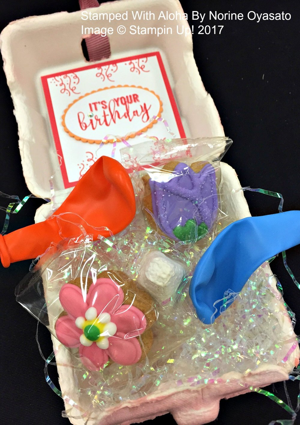 Mini Egg Carton Birthday Favor by Norine - www.stampedwithaloha.com