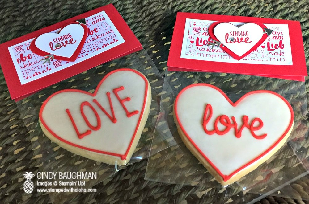 Sending Love Bunco Favors/Cookies by Zoe, Hawaii - www.stampedwithaloha.com