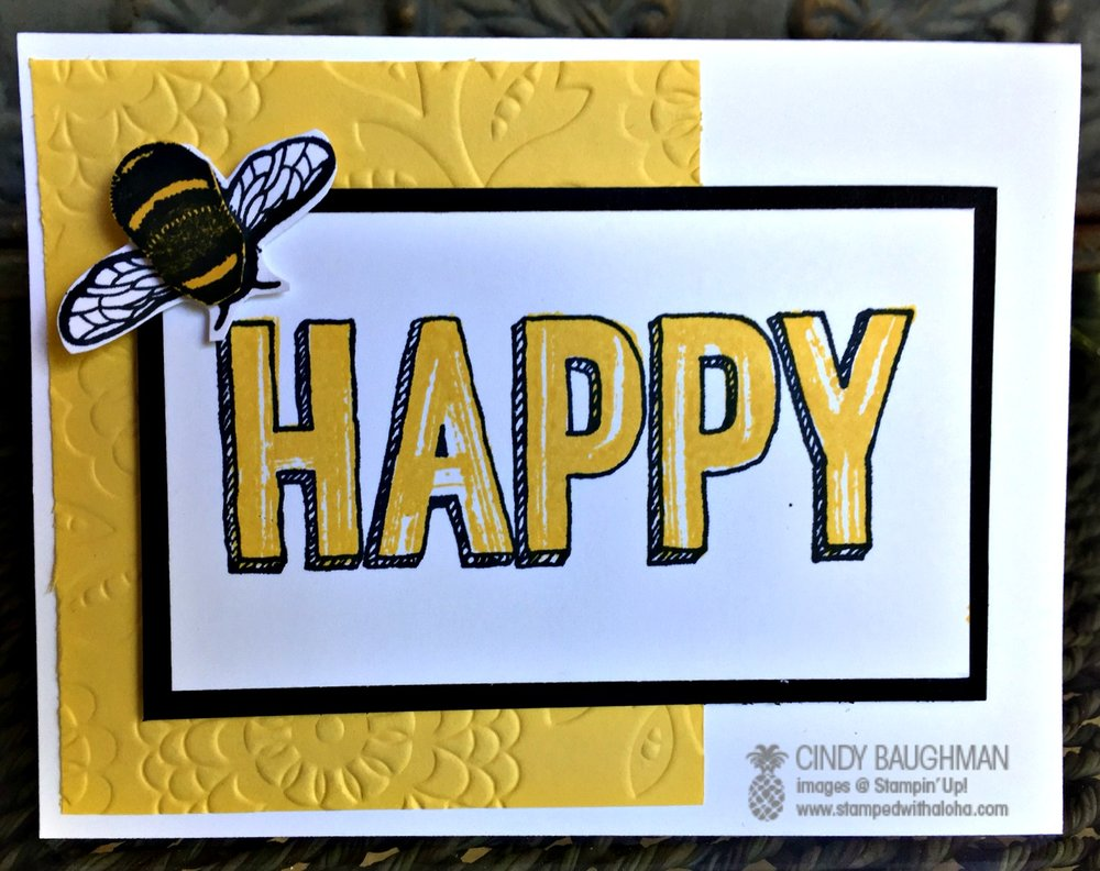 Bee Happy Card - www.stampedwithaloha.com