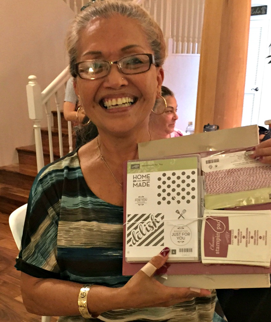 Gerry and her prize - www.stampedwithaloha.com