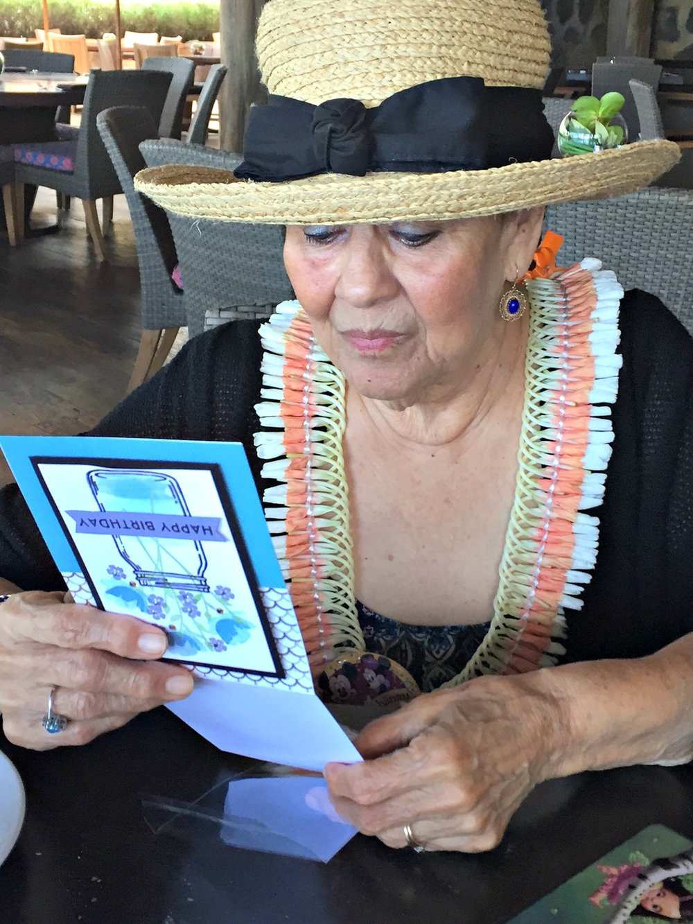 Mom reads her birthday card - www.stampedwithaloha.com