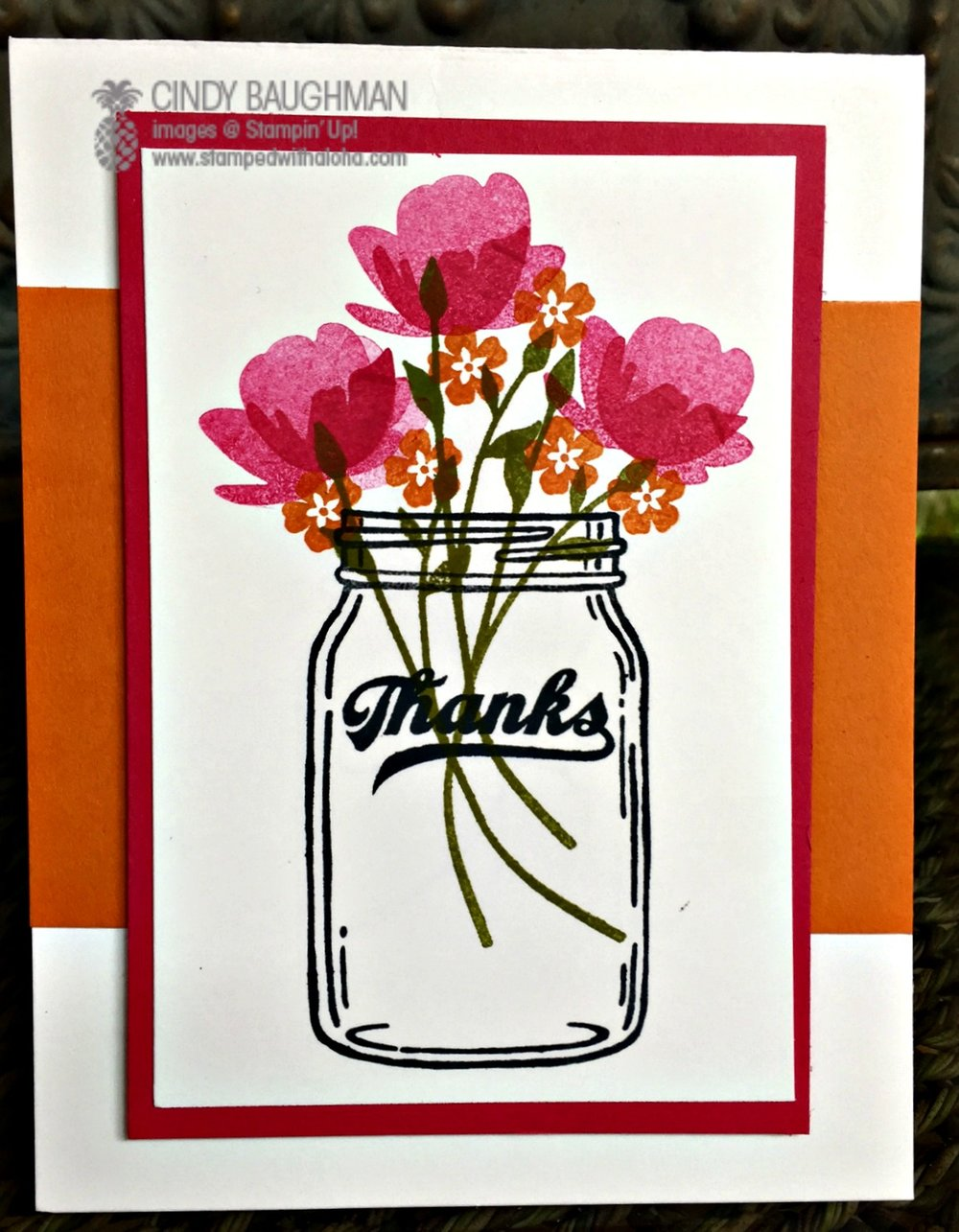 Jar of Love Thank You Card - www.stampedwithaloha.com