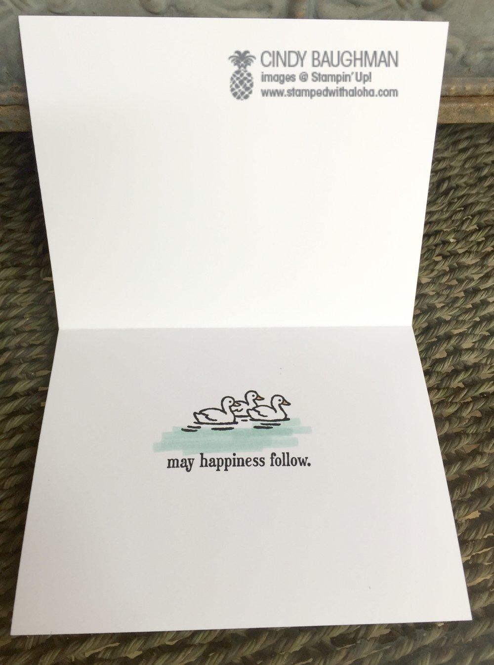 Swan Lake Card (inside) - www.stampedwithaloha.com