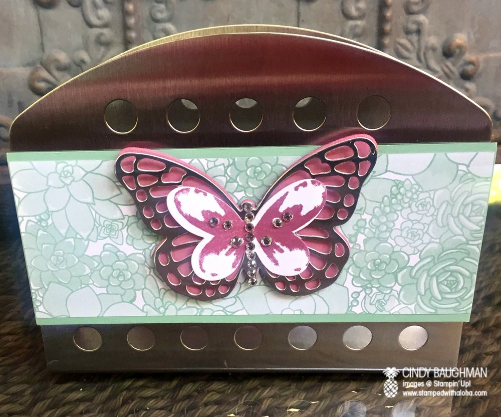 Watercolor Wings Card Holder - www.stampedwithaloha.com