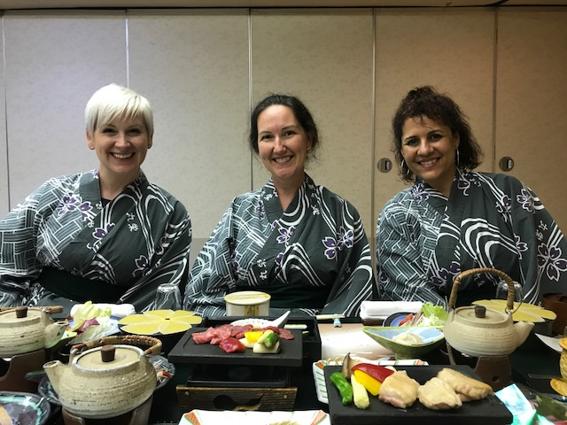 Lynsay, Meg and Cindy about to experience a Kaiseki dinner