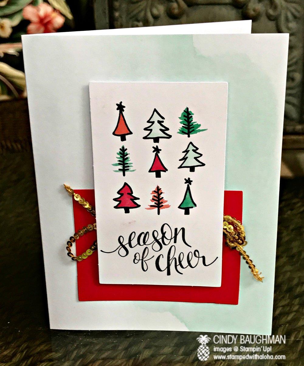 Watercolor Christmas Season of Cheer Card - www.stampedwithaloha.com