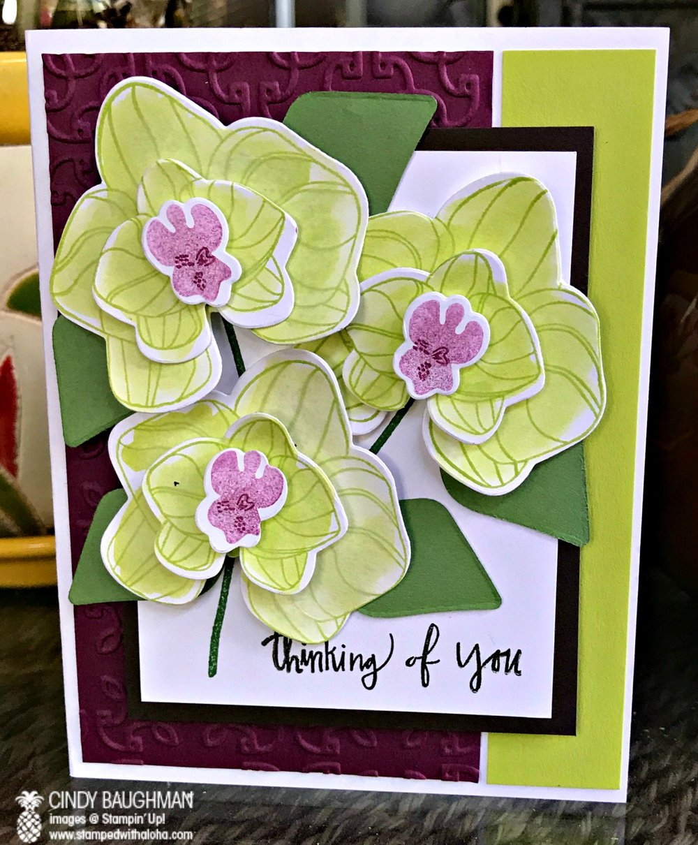 Orchid Card - www.stampedwithaloha.com