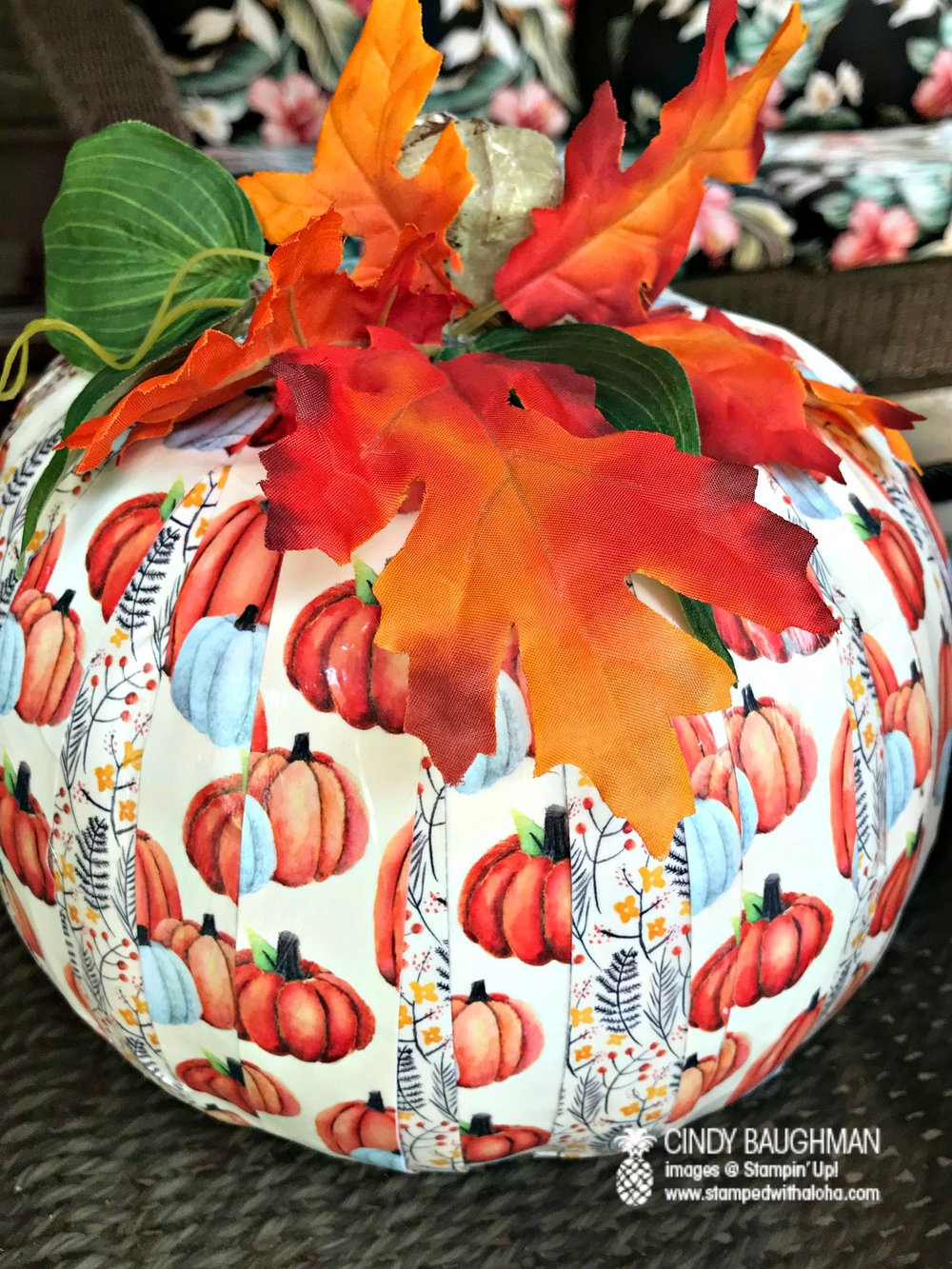 Painted Harvest Pumpkin - www.stampedwithaloha.com
