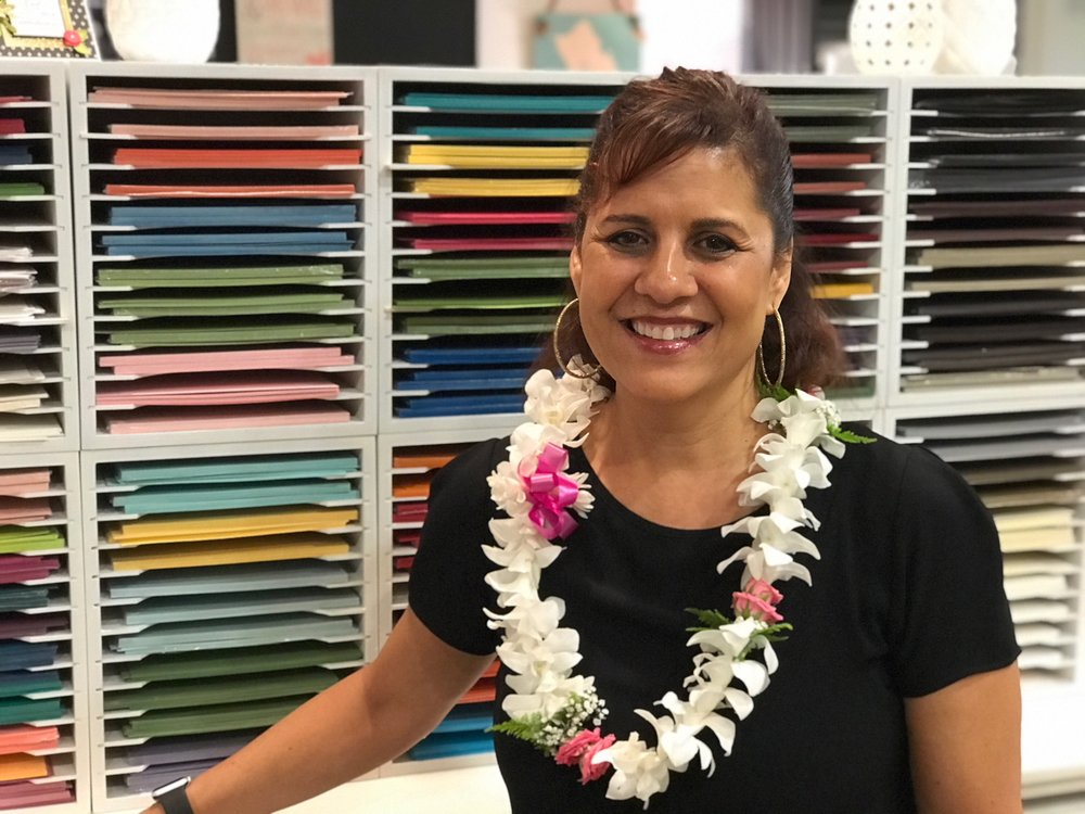 Cindy at her Stamp Studio Blessing - www.stampedwithaloha.com