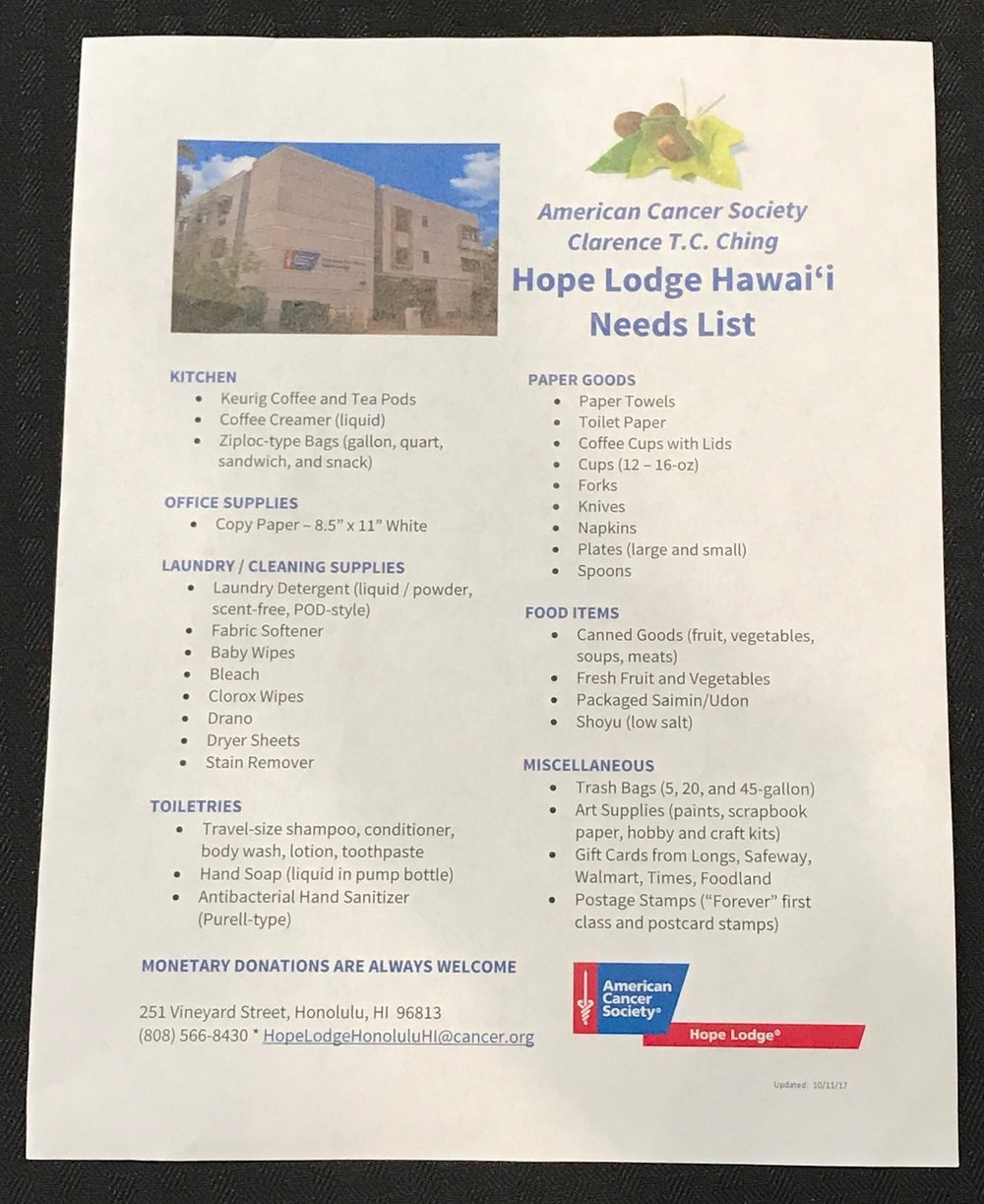 Hope Lodge of Hawaii Needs - www.stampedwithaloha.com