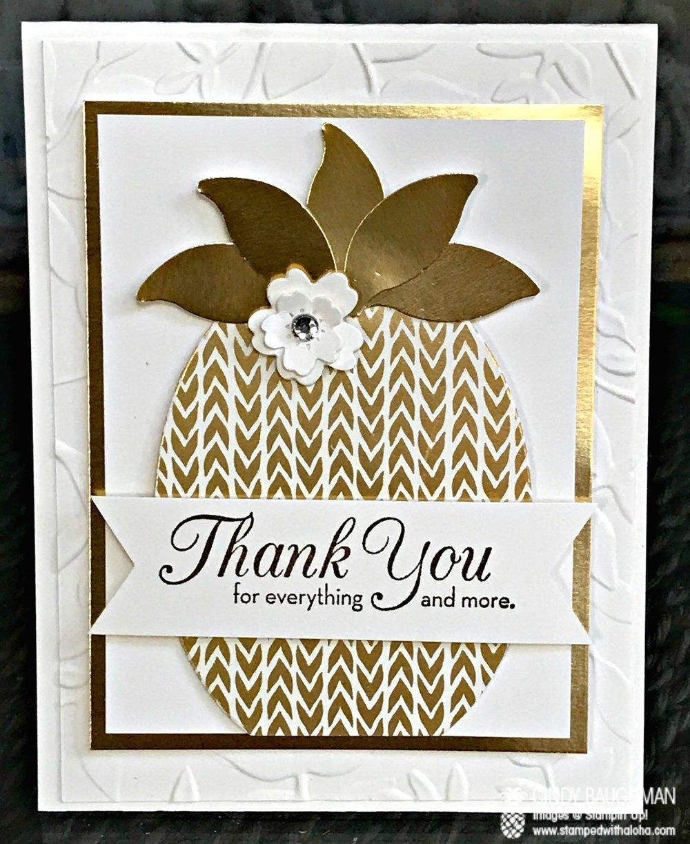 Punch Art Elegant Pineapple Card - www.stampedwithaloha.com