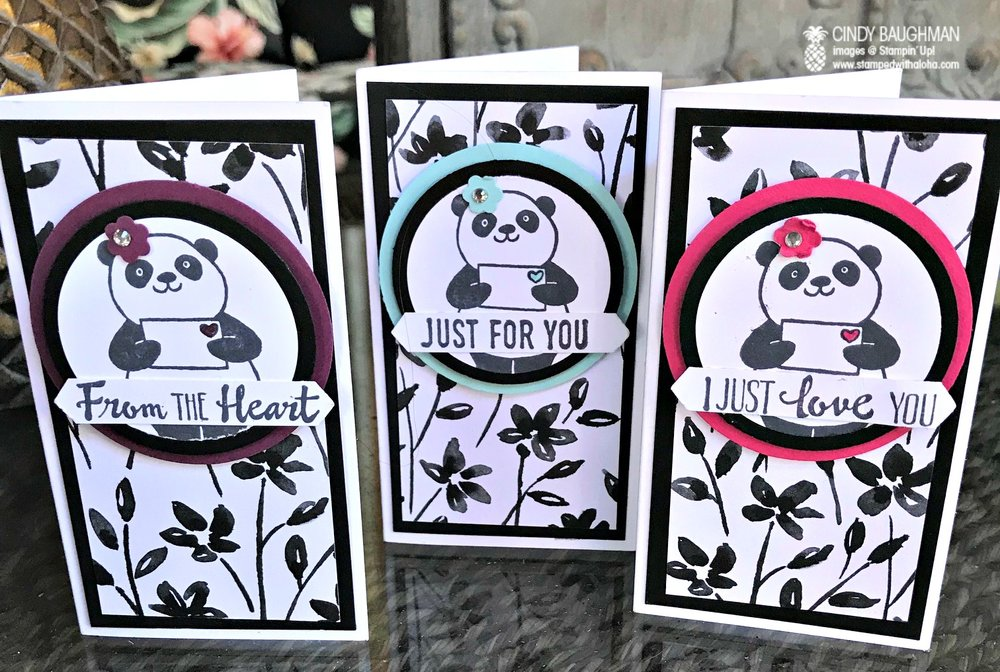 Party Panda Narrow Note Cards - www.stampedwithaloha.com