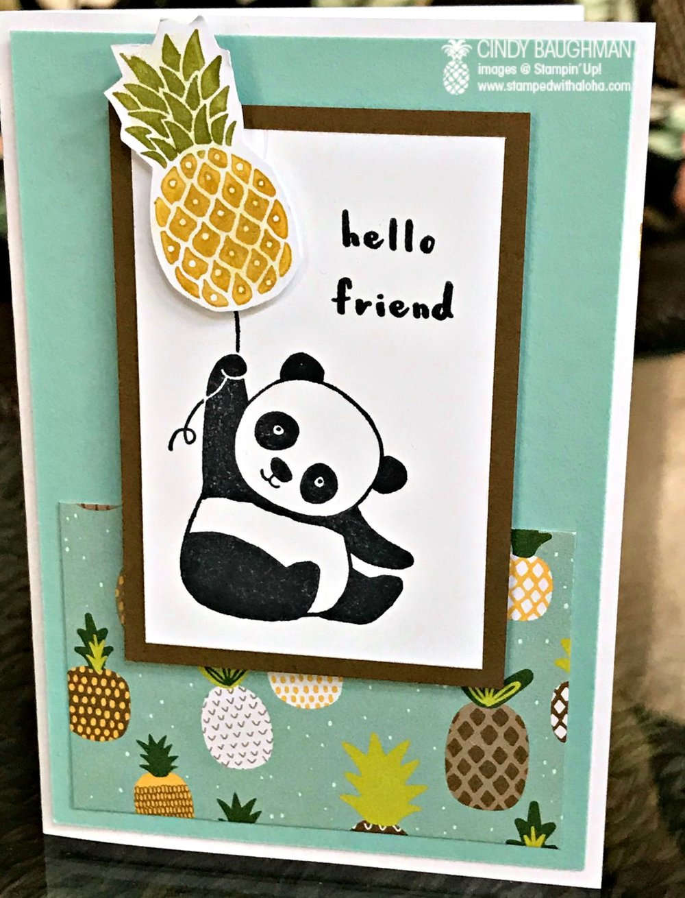 Pineapple Panda Note Card - www.stampedwithaloha.com