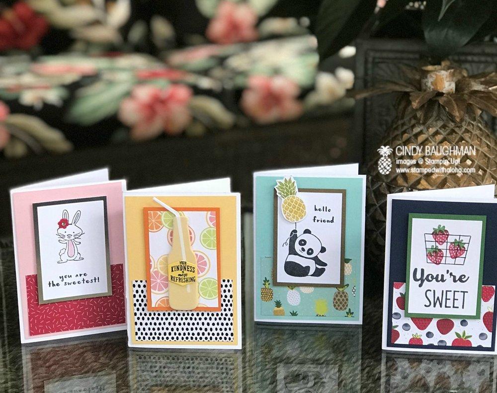 Tutti Frutti Note Cards - www.stampedwithaloha.com