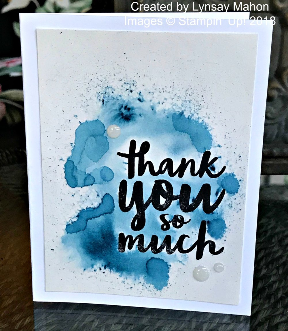 Thankful Thoughts Brusho Card - www.stampedwithaloha.com