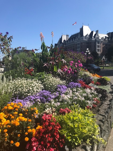 Flowers outside of the Empress Hotel