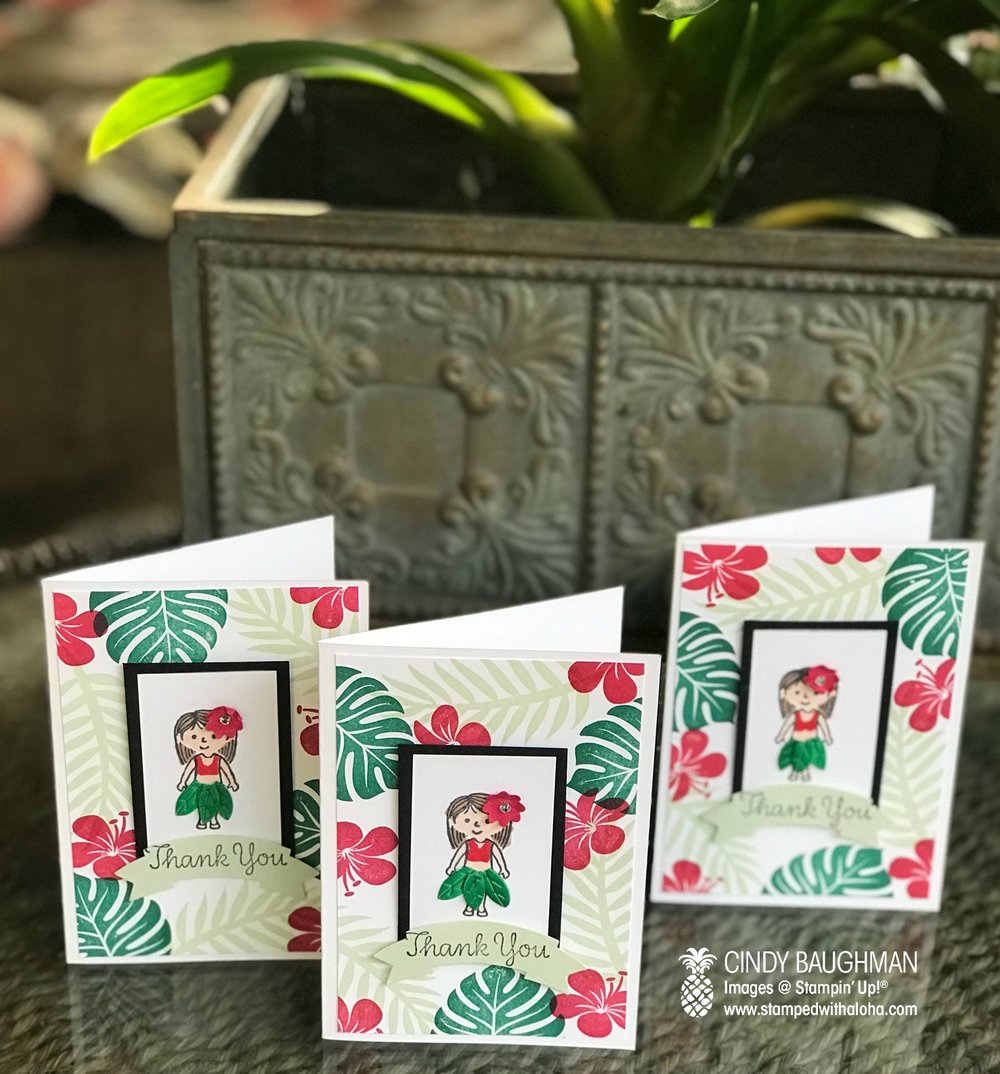 Hula Girl Thank You Cards