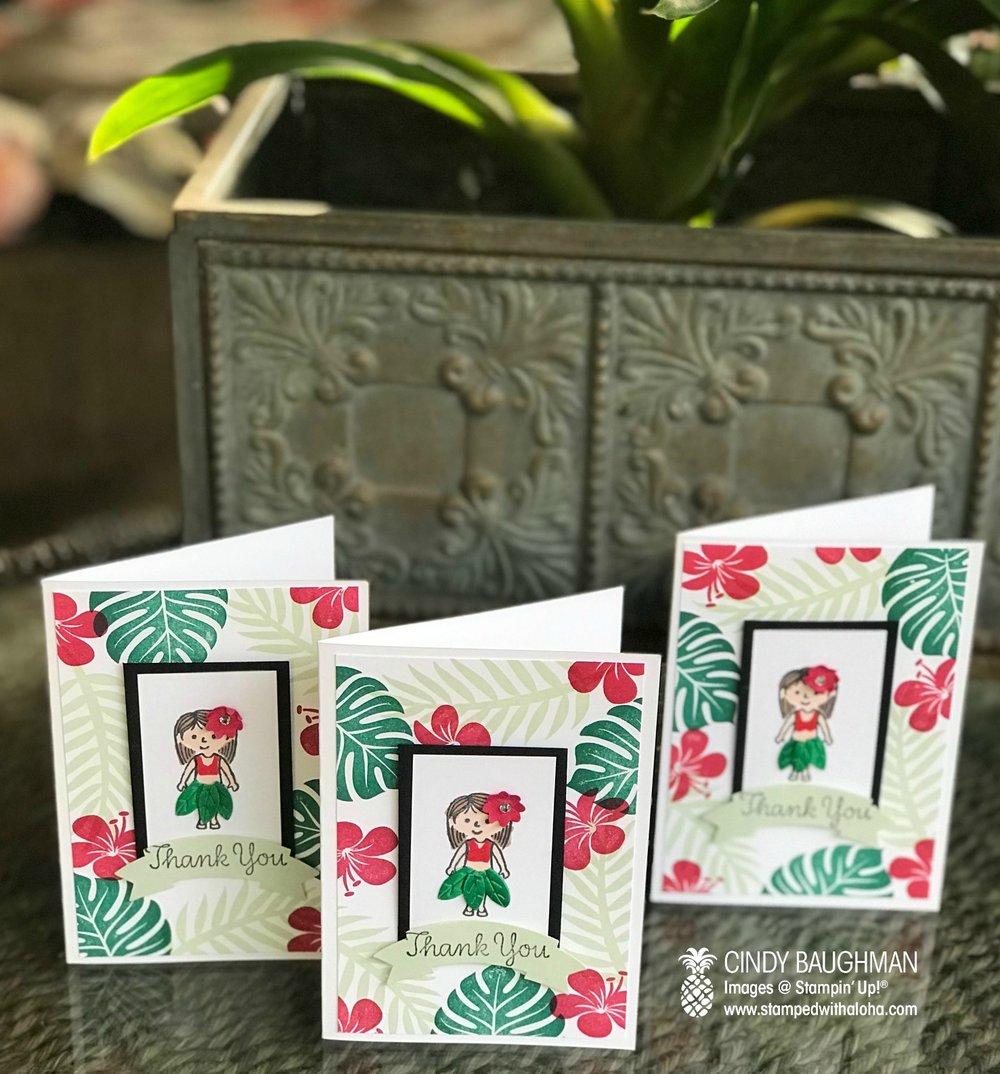 Hula Girl Thank You Cards
