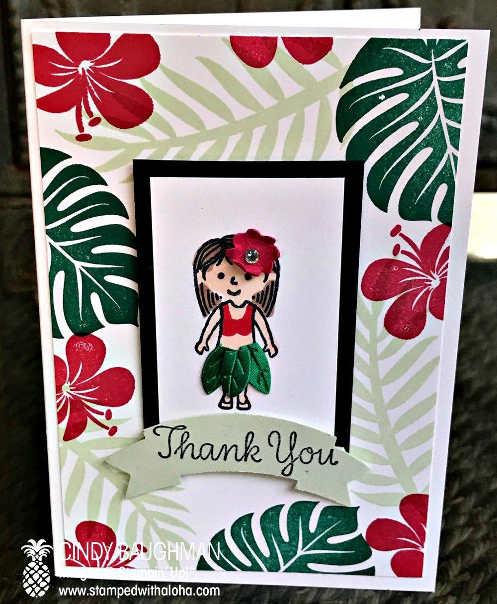 Hula Girl Thank You Card