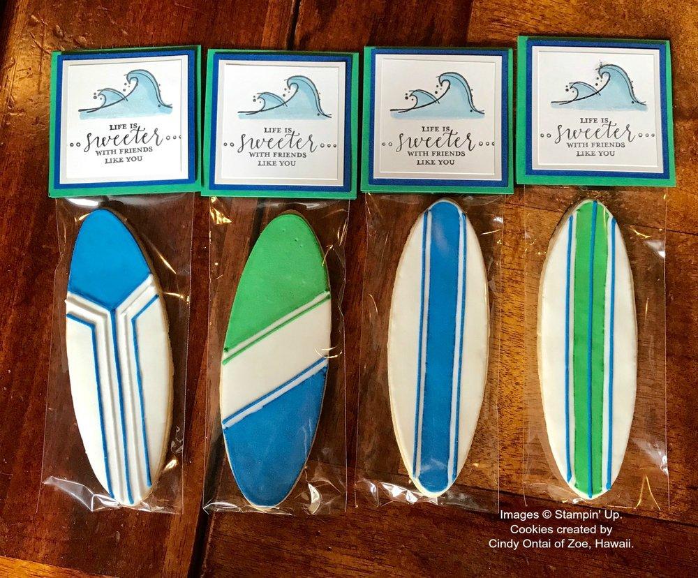 Surf Board Cookies by Zoe, Hawaii