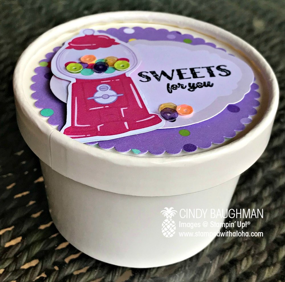 Sweet Cup filled with Gum Balls - stampedwithaloha.com
