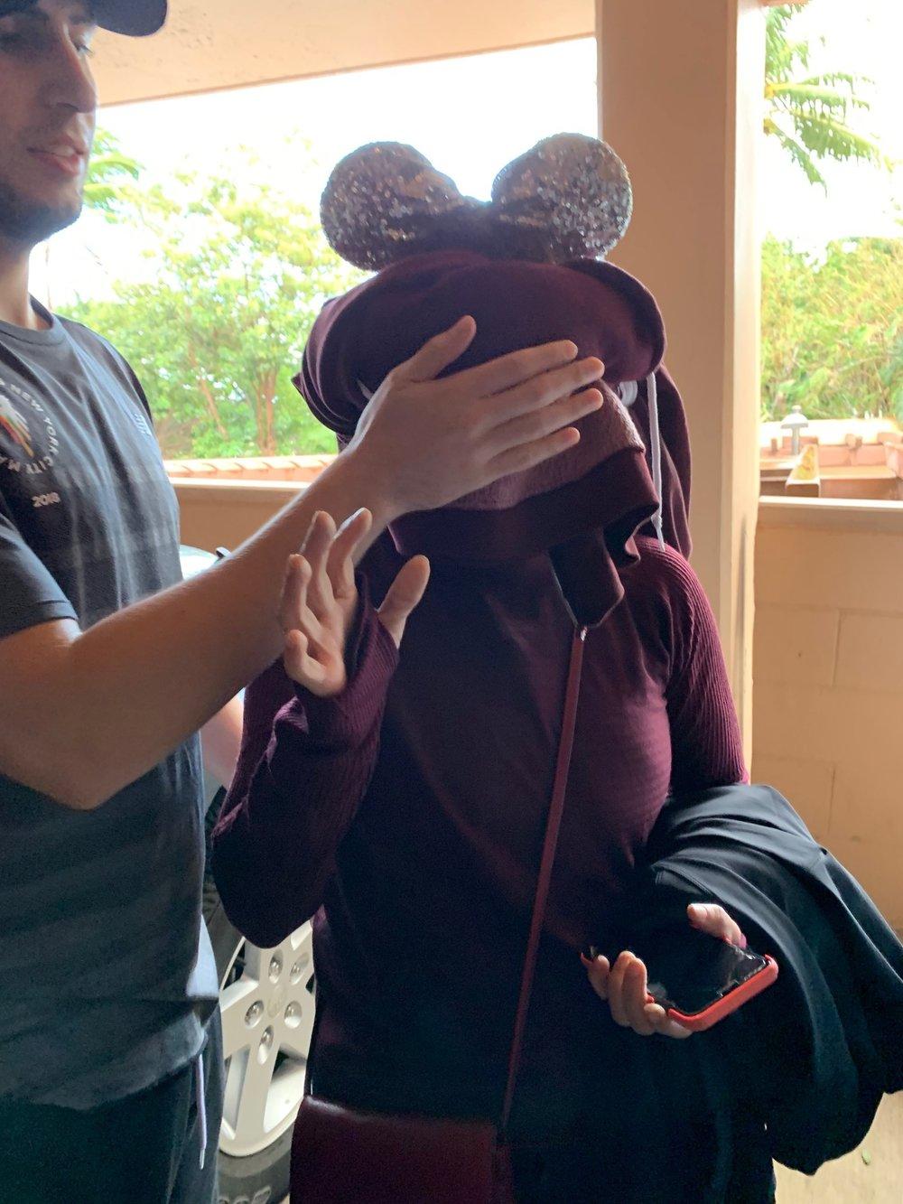 Kalani's sweatshirt blindfold