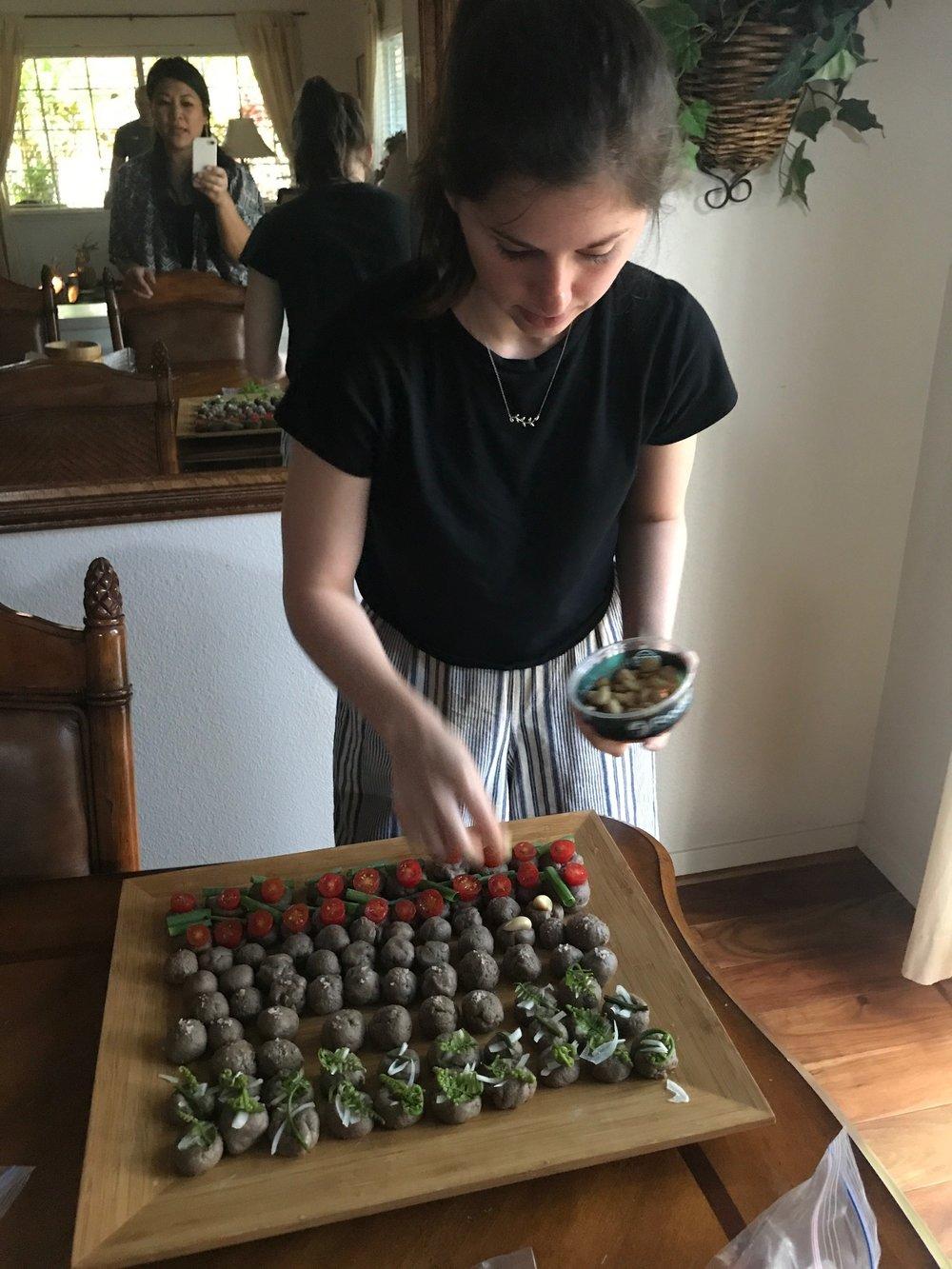 Jessica prepares the meal