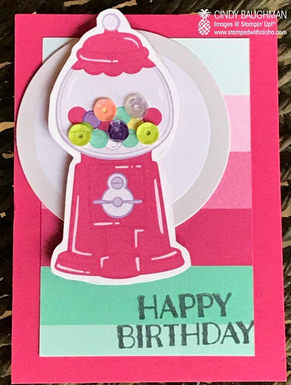 Gum Ball Card Candy - stampedwithaloha.com
