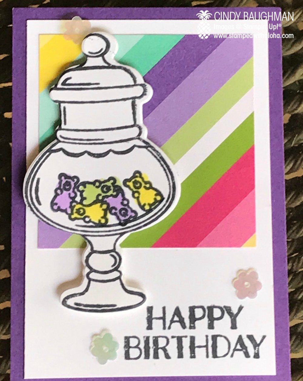 Gummy Bear Card Candy - stampedwithaloha.com