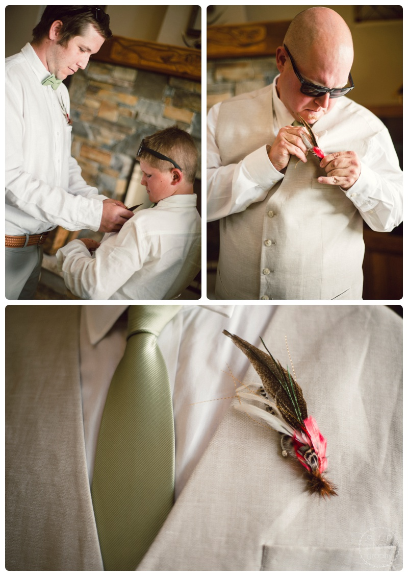The guys getting all decked out. Love the handcrafted fly fishing feather boutonnieres Bridget found on Etsy.