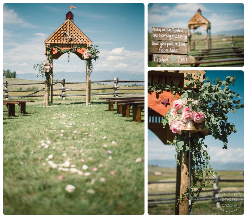 The ceremony space had so many gorgeous details. Floral pieces from Labellum. Benches from Montana Party Rental. Wedding signs and ceremony pavilion handcrafted.