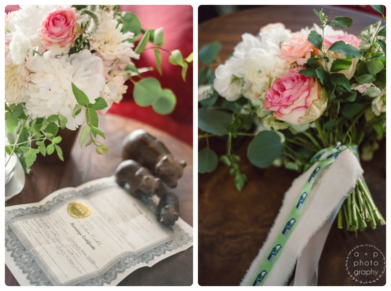 The natural garden-style flowers from Labellum were spot on. Loved the personalized ribbon accent.