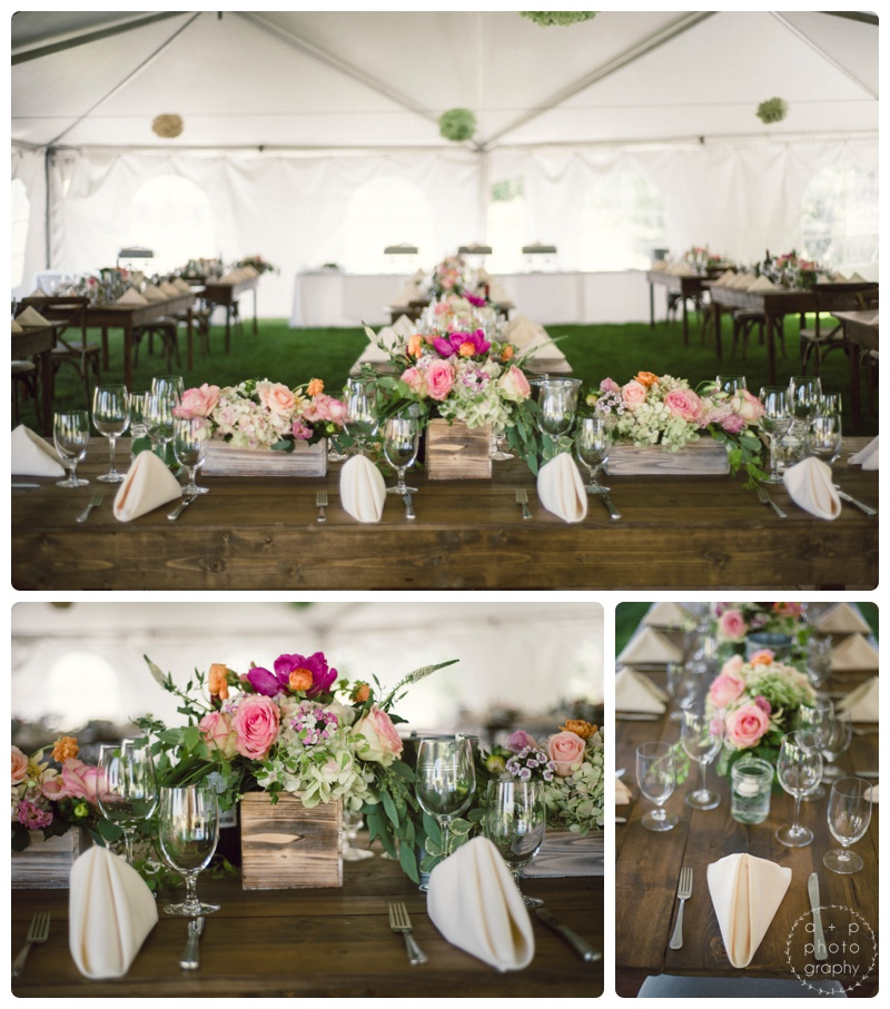 Simply gorgeous rustic wooden centerpieces from Labellum with garden style flowers. Loved the long wooden tables from Montana Party Rental and showcasing them instead of covering them with linen.