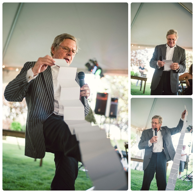 An EPIC toast by father of the bride Steven. You know you've nailed it when they laugh and cry.