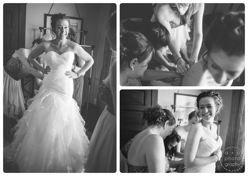 Katie's girls and her mom helped her into her stunning gown from After 5 and Weddings.