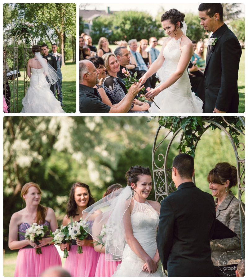 So many touching moments during Katie and Ryan's wedding, including a flower ceremony for their parents.