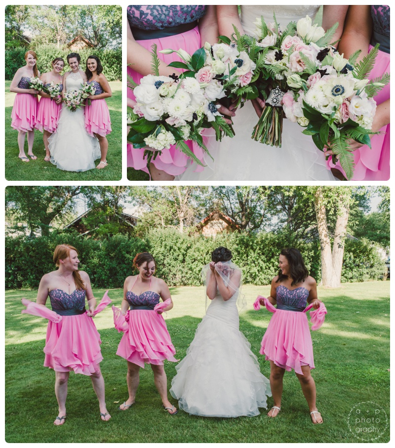 Katie's girl's wore pink bridesmaids dresses with a lace bodice. They accented their colorful dresses with soft pink and white bouquets with heavy greens.