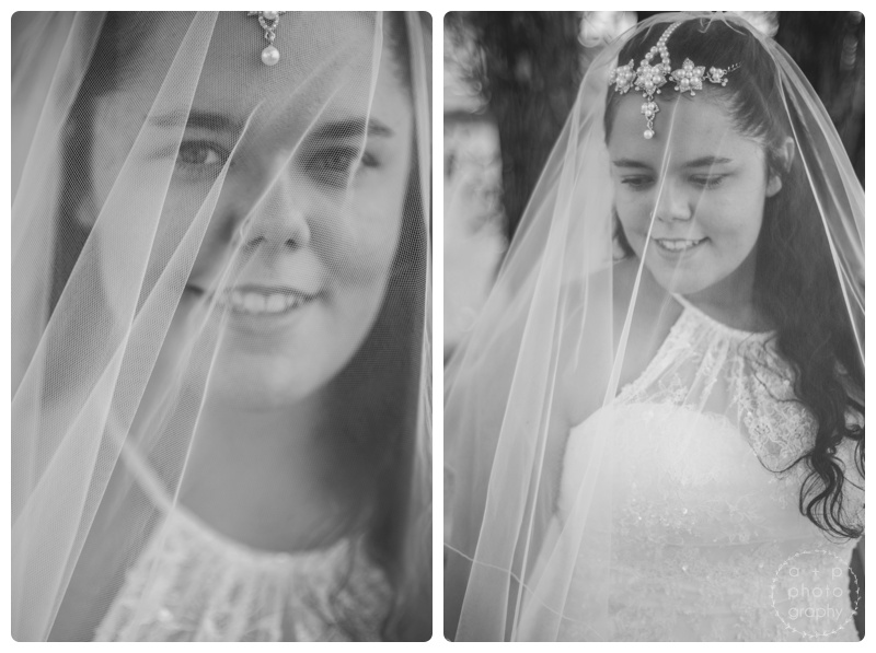 The veil and the headpiece made by the bride perfectly complimented each other.