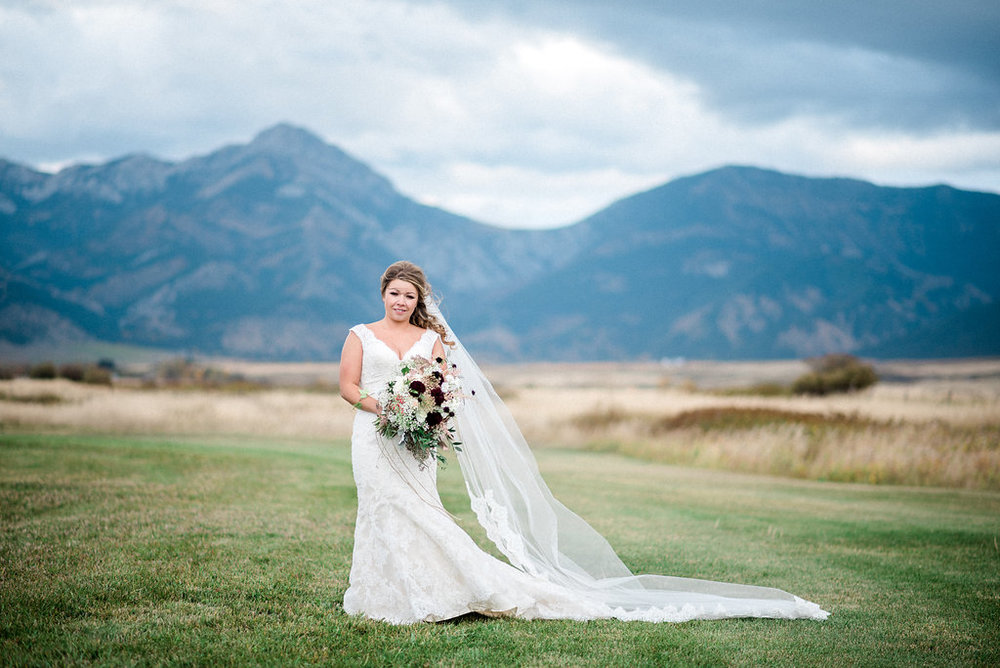 Beautiful bride at the Big Yellow Barn just outside Bozeman, Montana.