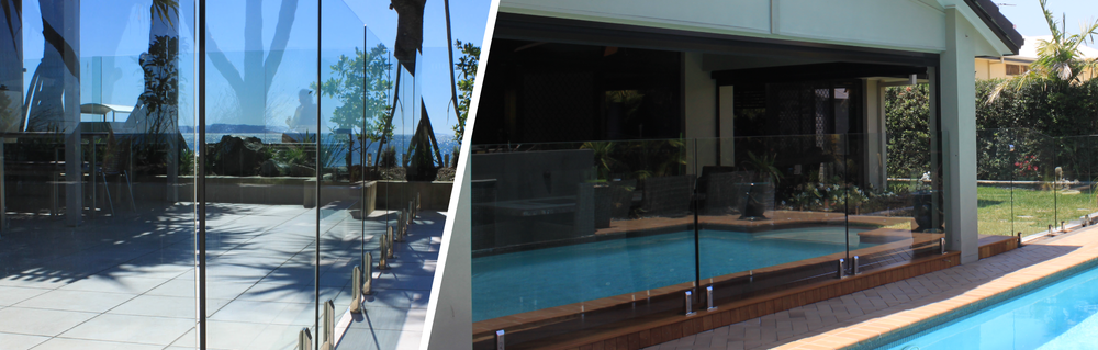 Residential frameless glass pool fencing with stainless steel spigots, hinges and hardware