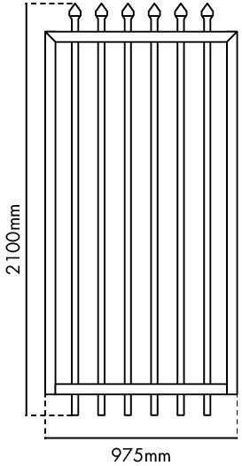 2100mm H x 975mm W Zeus gate panel