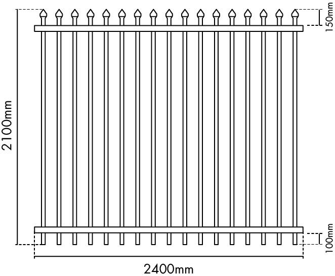 2100mm H x 2400mm W Zeus fence panel