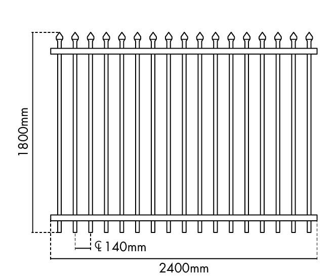 1800mm H x 2400mm W Zeus fence panel