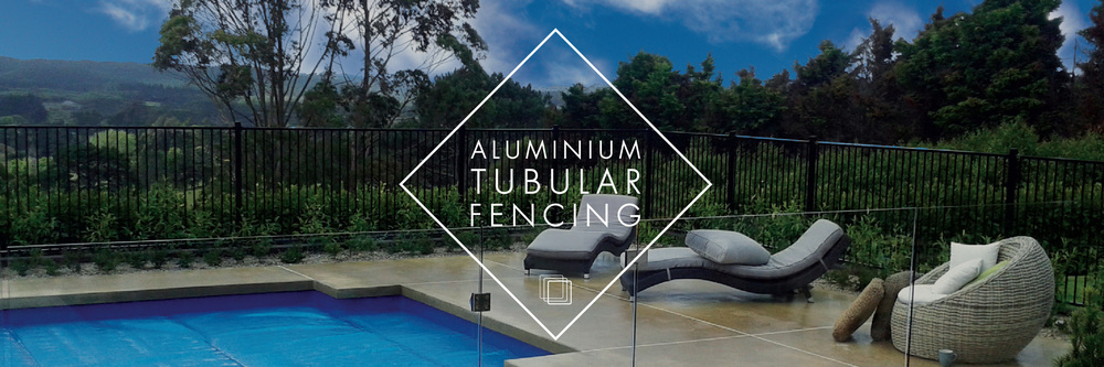 Aluminium tubular pool fencing in black powder coat