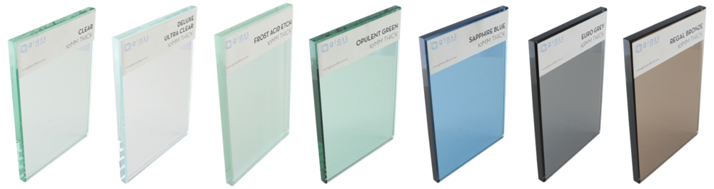 Glass tints available: Clear, deluxe ultra clear, frost acid etch, opulent green, sapphire blue, euro grey, regal bronze