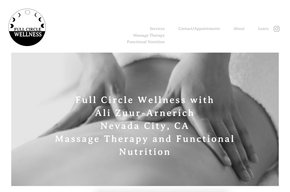 FULL CIRCLE WELLNESS | MASSAGE & NUTRITION   Web-design, and logo design