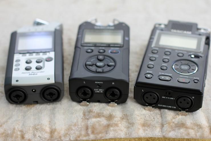 Zoom H4n, Tascam DR-40, Tascam DR-100mkIII