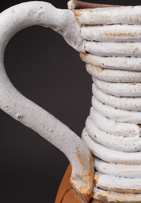 "(Detail) Large Pot w/White Coils, 29""x25"" diameter, 2015"